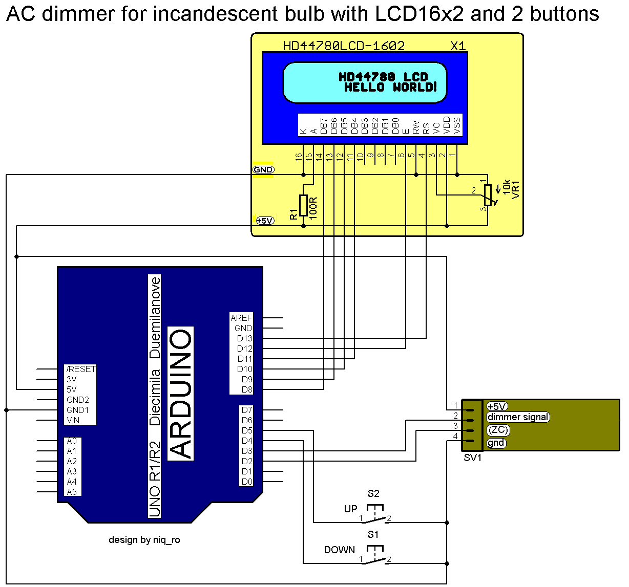 Arduino tehniq ac light dimmer with