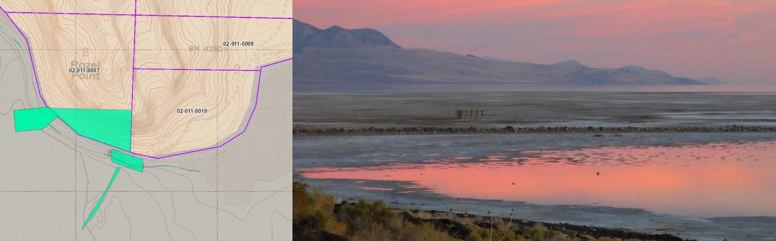 Carte topographique de Rozel Point tirée du site Web du comté de Box Elder / photo de la jetée pétrolière qui jouxte la Spiral Jetty, par Hikmet Sidney Loe