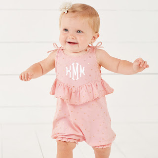 personalized baby girl's romper with sparkle stars
