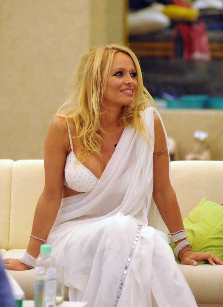 Pamela Anderson in white saree