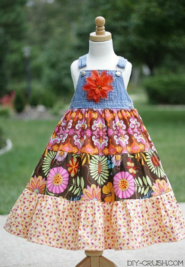 Learn how to make a twirl dress using the bib from a pair of denim overalls ~ DIY Crush