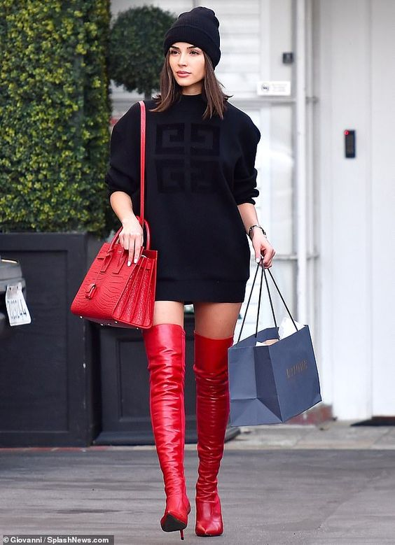 Olivia Culpo Givenchy Oversized Sweatshirt Red Croc Birkin Bag Red Over Knee Boots