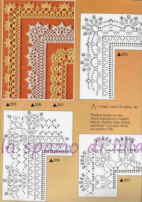 Top lo spazio di lilla: Schemi di bordi crochet con angoli, utili per  SX78