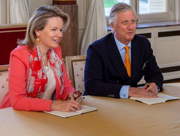 Queen Mathilde wore Giorgio Armani pink silk blazer. Covid-19 pandemic, caused by the novel coronavirus. Prince Philip