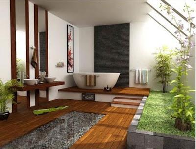 Contoh kamar mandi yang bernuansa alami