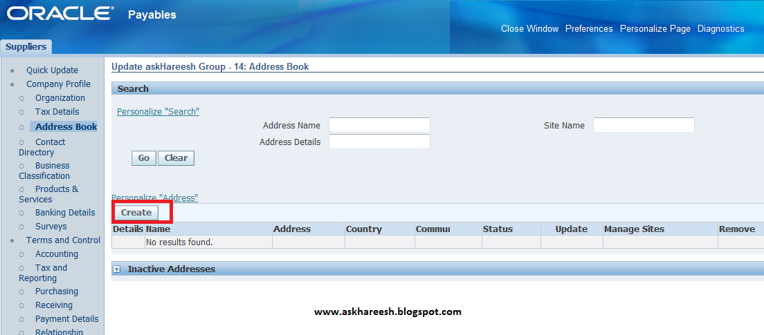 Supplier Creation in Oracle Apps R12, www.askhareesh.com