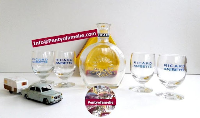 Ricard anisette Glass carafe with four footed Balloon glasses matching set