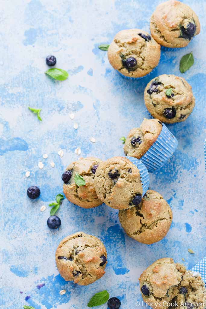 Blueberry Avocado Oatflour Muffins recipe
