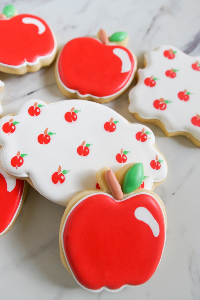 apple decorated cookies made using a toothpick!
