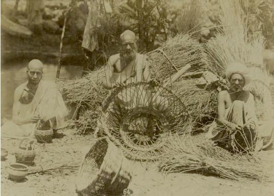 Kashmiri Men weaving Baskets - 1880s