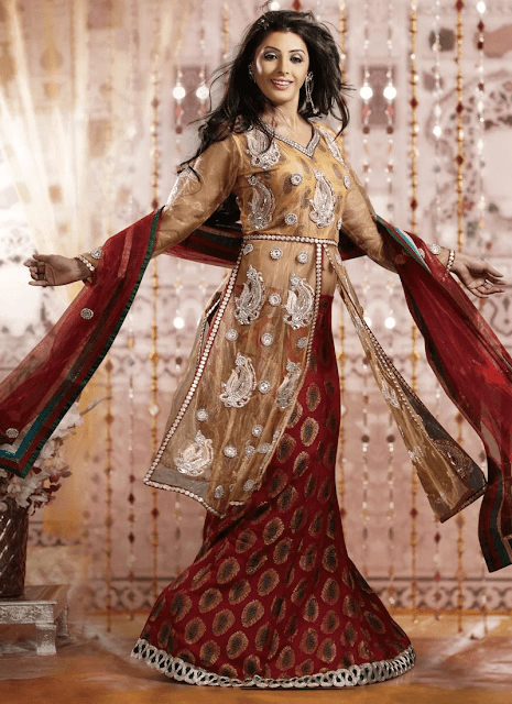 Red Brocade Long Lehenga Choli