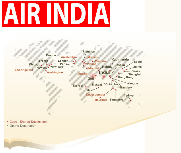 international flights Air India routes map