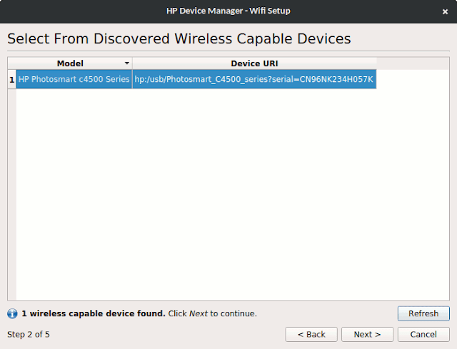 Select from discovered wireless capable devices