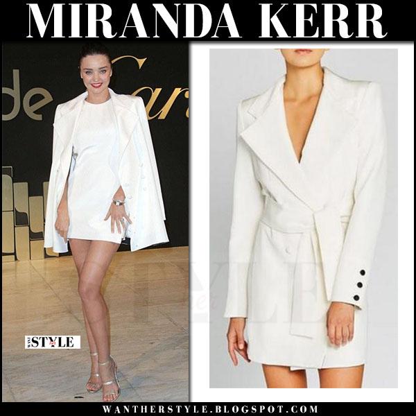 Miranda Kerr in white blazer dress and metallic sandals tamara mellon frontline what she wore may 5 2017
