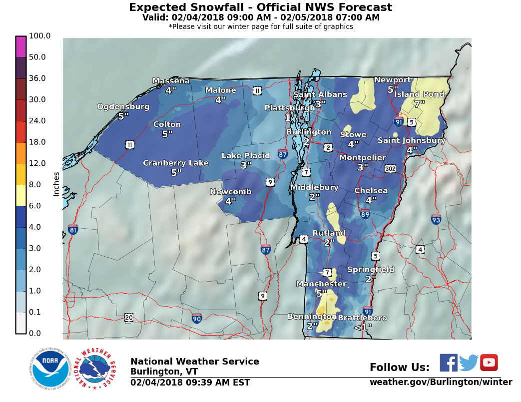 here s what the national weather service in south burlington is projecting for snowfall through early monday morning click on the map to make it bigger