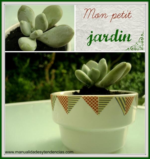 Maceta decorada con washi tape / Flower pot decoration with washi tape / Pot de fleurs décoré avec du masking tape