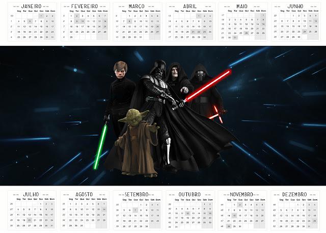 Calendario 2016 para Imprimir Gratis de Star Wars.