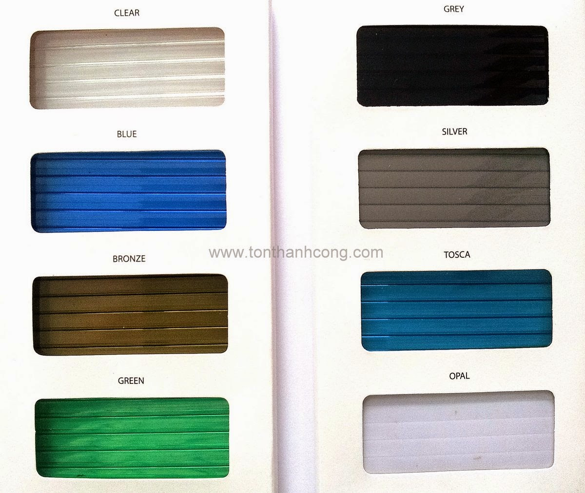 Bảng màu tấm lợp lấy sáng Polycarbonate rỗng ruột SUMMER | SUNTECH Malaysia