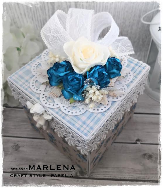 Pamiątka Chrztu - niebieski exploding box