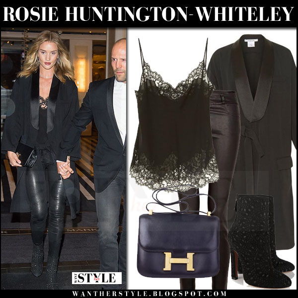 Rosie Huntington-Whiteley in black satin givenchy coat, black leather paige denim verdugo pants and alaia ankle boots what she wore night out