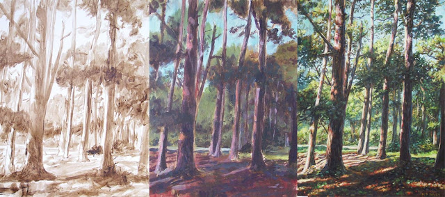 Martin Davey forest art WIP acrylic painting stages