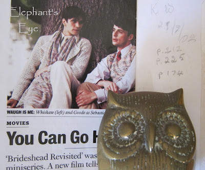 Her pencilled notes, with an owl from her collection