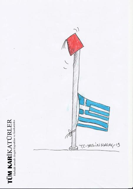 fesli yunan bayrağı karikatür