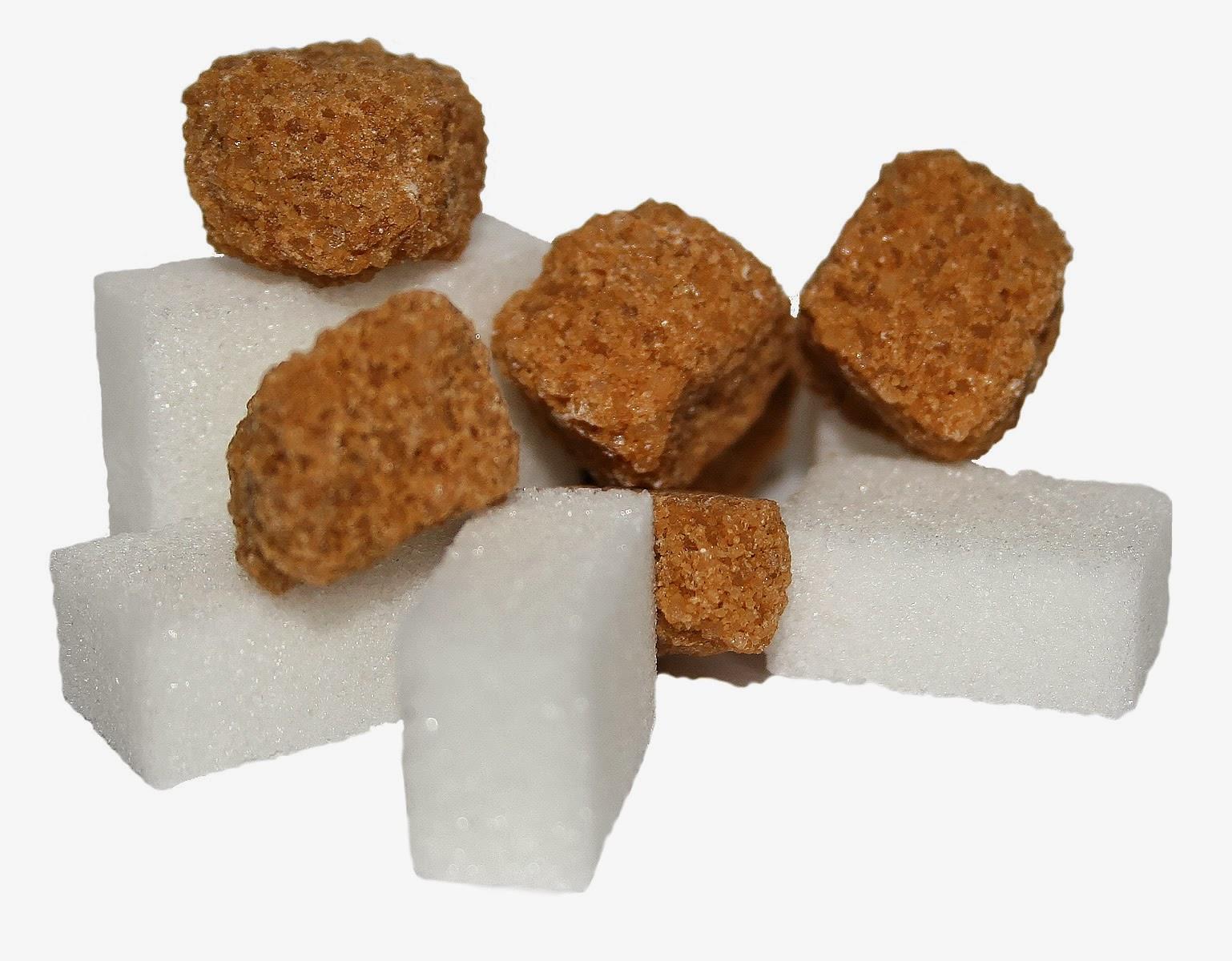 Terrones de azúcar blanco y azúcar moreno