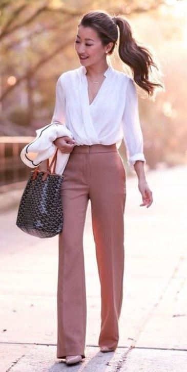 how to style a white blouse : bag + nude heels + formal pants