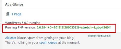 cara melihat versi php dengan plugin Display PHP Version
