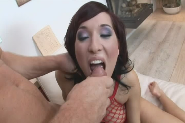 Busty Brunette Babe In Fishnet Fucks Massive Rod