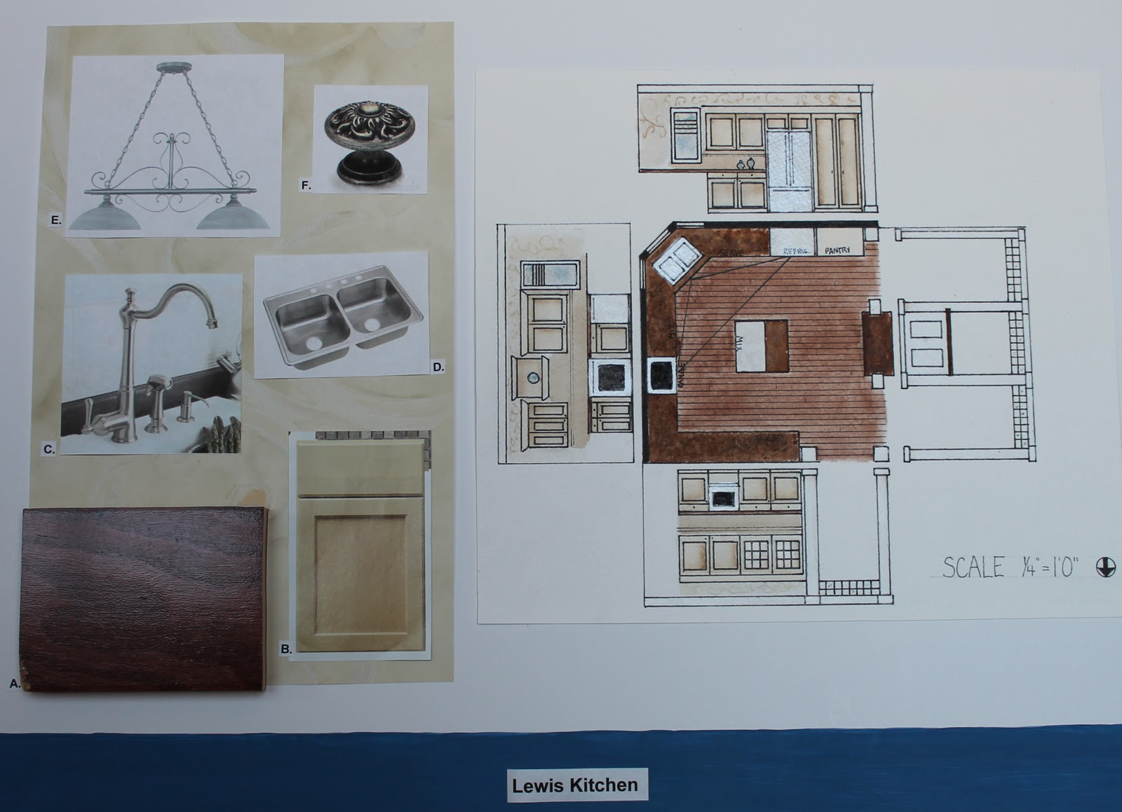 My Interior Design III class project was kitchen design. The presentation boards consisted of a floor plan a perspective drawing and the materials used in ... & Treasures Rediscovered: Interior Design Color Boards