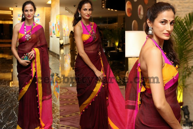 Shilpa Reddy Maroon Cotton Saree