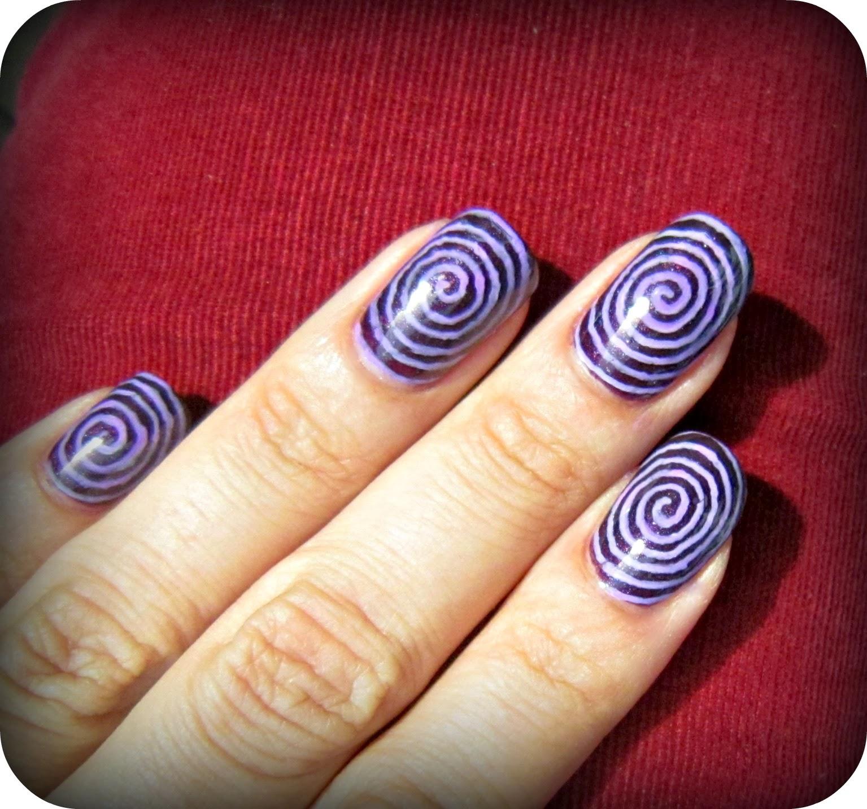 Concrete And Nail Polish Striped Nail Art: Concrete And Nail Polish: Halloween Spiral Nail Art