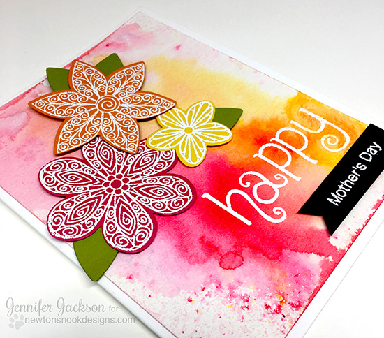 May Flowers Blog Hop! Happy Mother's Day floral card by Jennifer Jackson | Beautiful Blossoms Quilled Flower Stamp set by Newton's Nook Designs #newtonsnook
