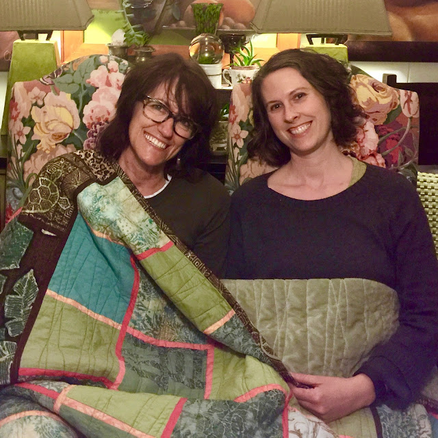 "Denise and Lucinda with ""Turtle Quilt"""