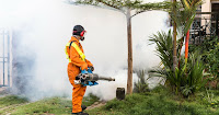 A worker fogs a residential neighborhood with insecticides to kill mosquitoes. (Credit: Shutterstock) Click to Enlarge.