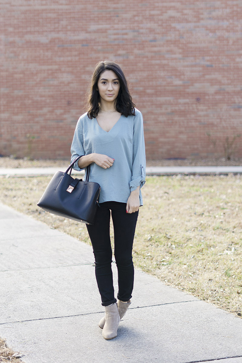 seafoam green satin top with taupe booties