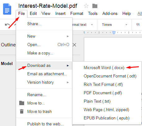 Google Docs pdf to docx