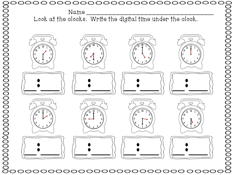 what time is it worksheet for 1st grade