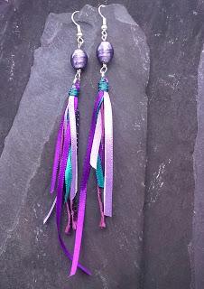 Purple Bead Tassel Ribbon Earrings