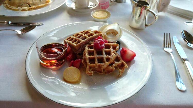 Park Hyatt breakfast a la carte, Belgian waffles, Sydney, Australia, Euriental