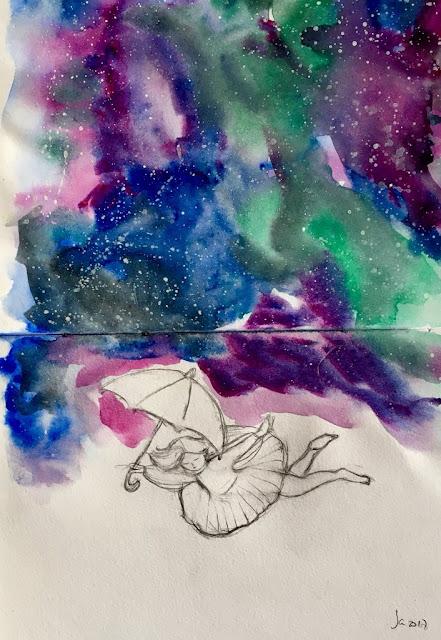 Acuarela de una niña con un tutú dibujada con líneas y sin color cayendo mientras sujeta un paraguas sobre un cielo de colores rosa, verde, violeta y azul