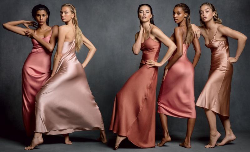 Imaan Hammam, Romee Strijd, Adriana Lima, Jasmine Tookes and Jasmine Sanders look pretty in pink slip dresses