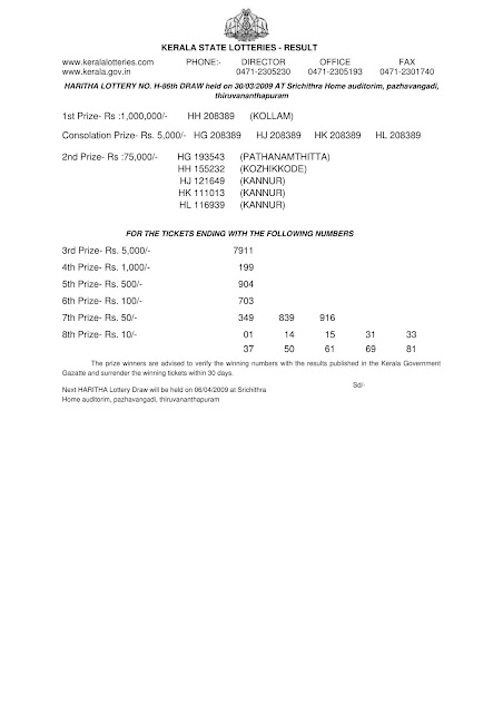 HARITHA (H-86) Kerala Lottery Result on March 30, 2009.