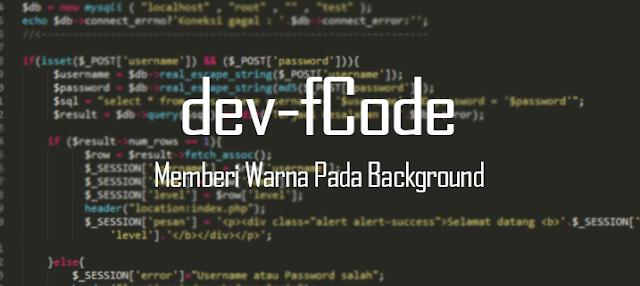 myfcode - Cara Memberi Warna Pada Background dan Tulisan HTML