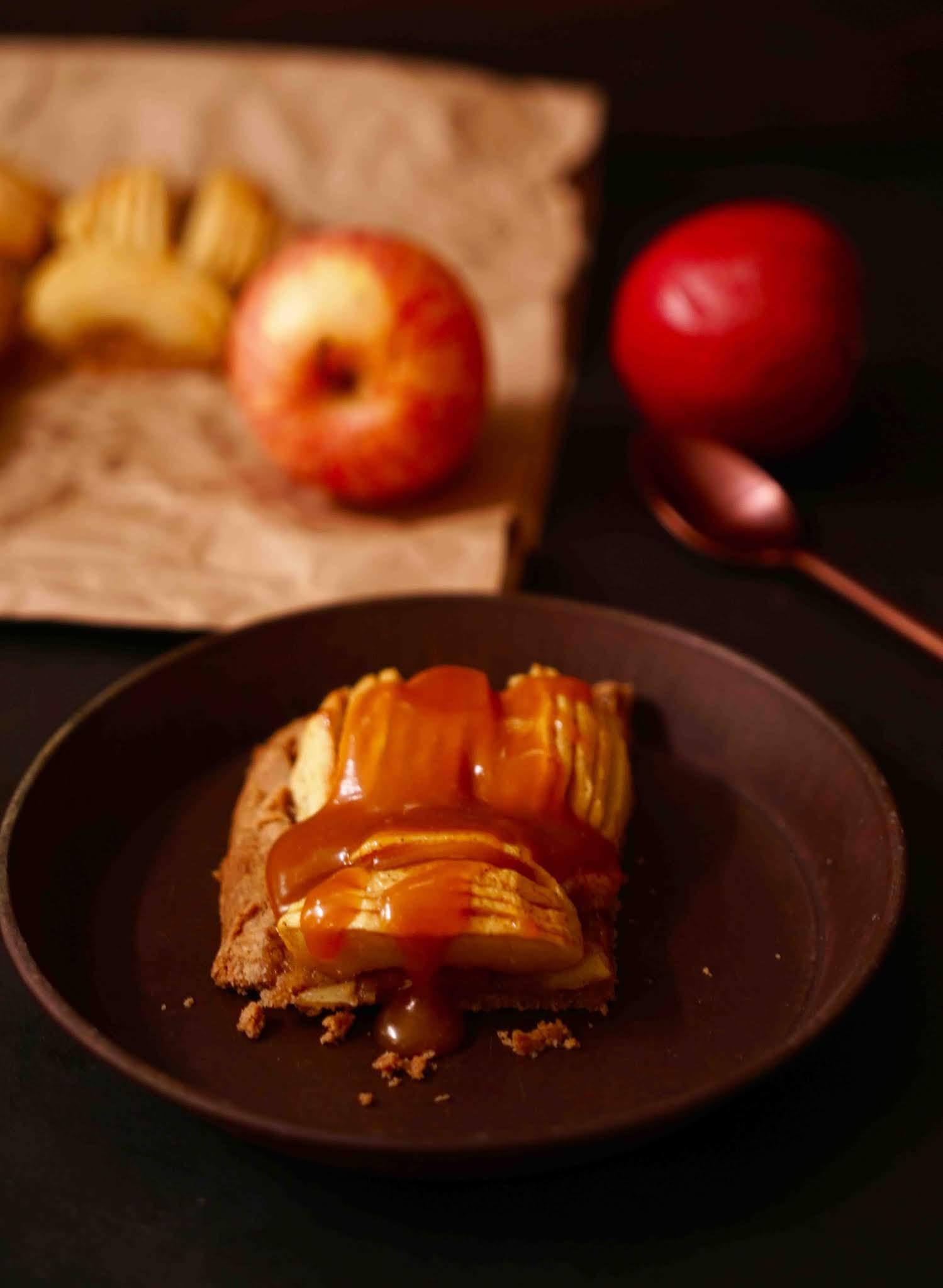 tarte aux pommes , dessert facile, dessert d'automne , caramel inratable