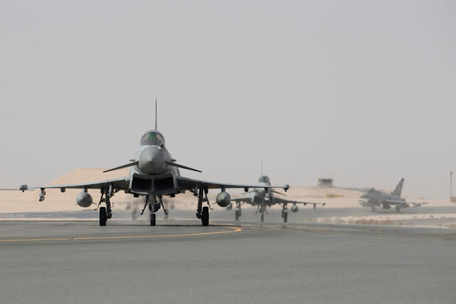 UK TYPHOONS ARRIVE IN QATAR FOR JOINT EXERCISE BETWEEN RAF AND QATAR EMIRI AF