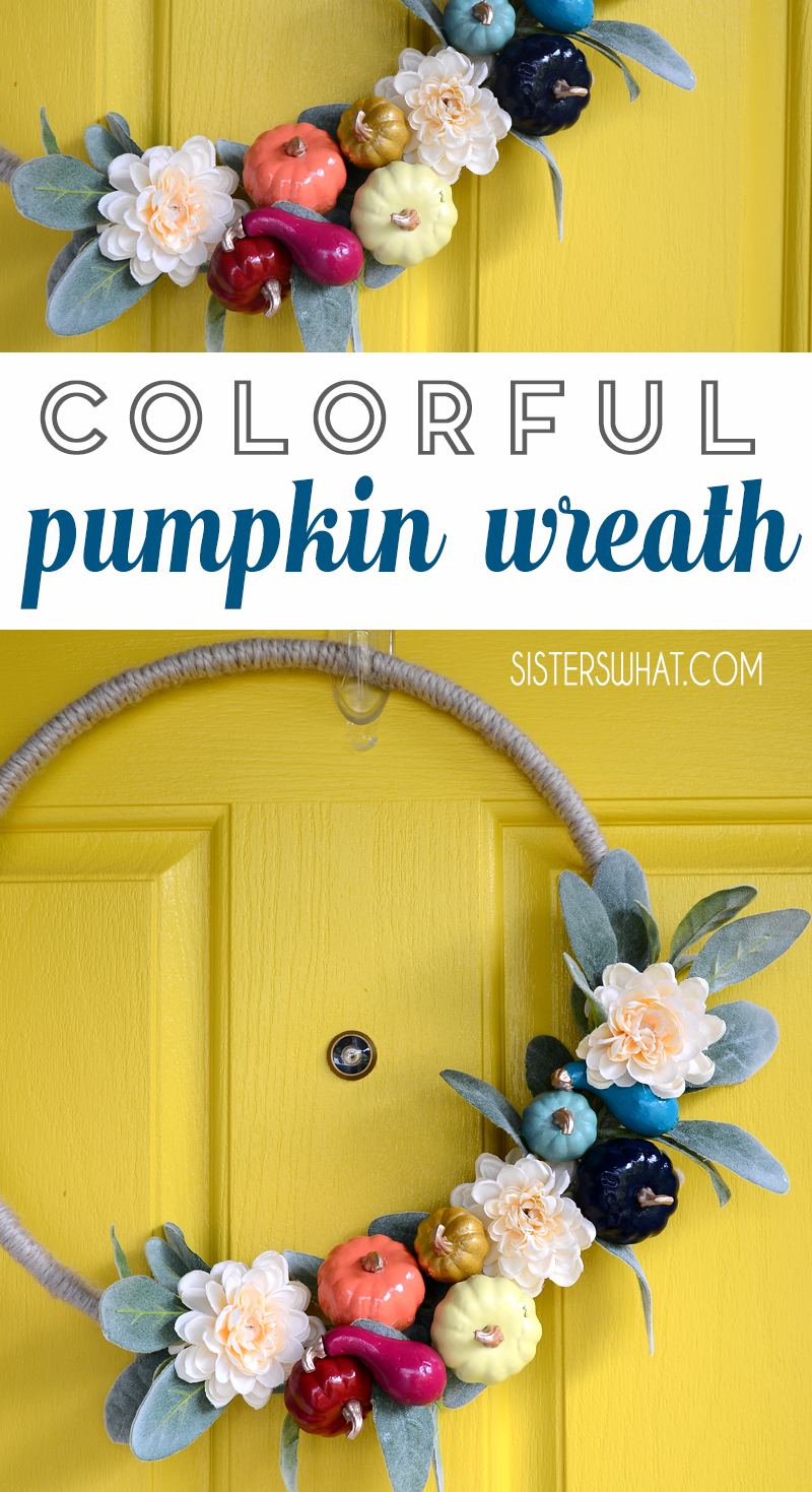 Colorful Pumpkin Wreath Fall Front Porch Decor