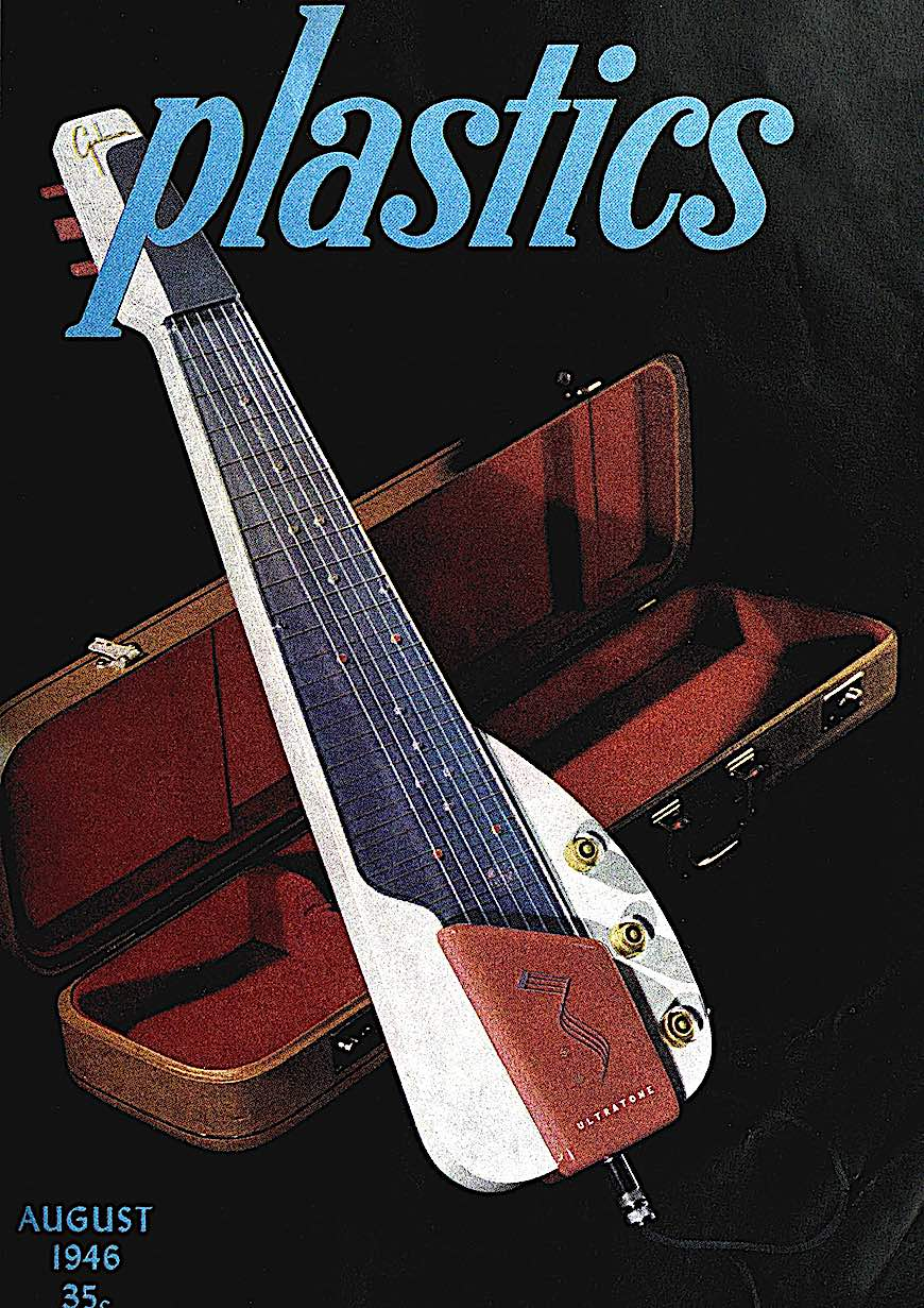 a color photograph of a 1946 Gibson steel guitar with plastic body